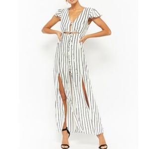 Striped Button-Front Maxi Dress